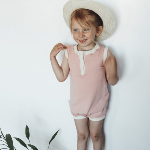 Pink and cream henley summer romper.